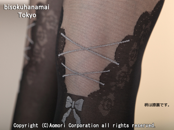 Back lace up Ribbon pattern tights (40 denier, toes through, made in Japan) ♪ pattern stockings sheer tights pantyhose stockings garter pattern knee high thigh wedding knee high stocking ♪-ZB