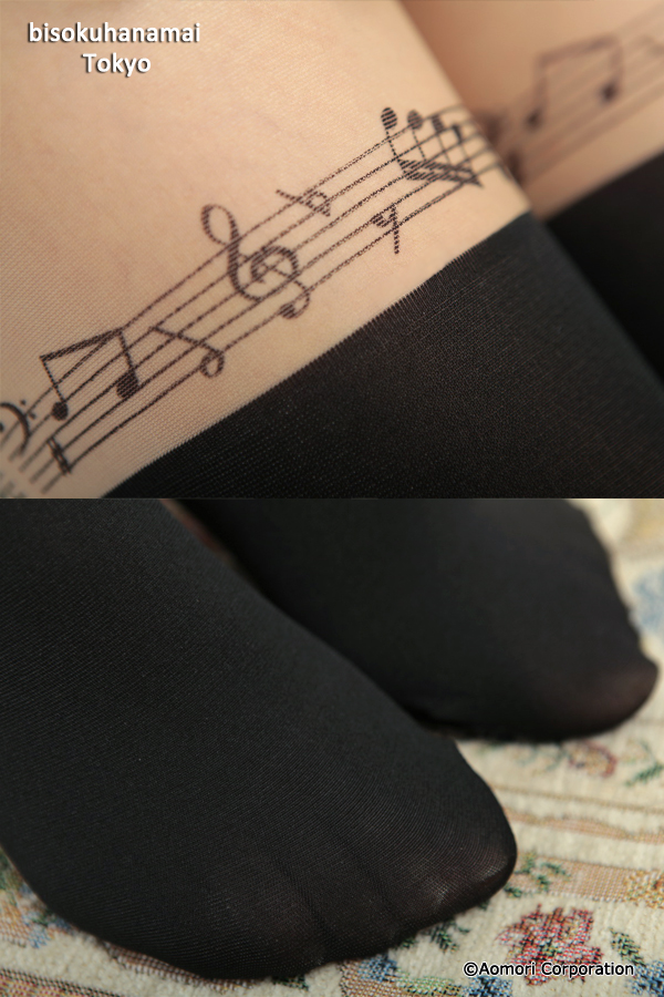 Sheet music fake tights (black) ♪ 1050 yen buying and selection in ♪ pattern stockings knee high stockings knee high tights tights party wedding stocking tights ladies!-z