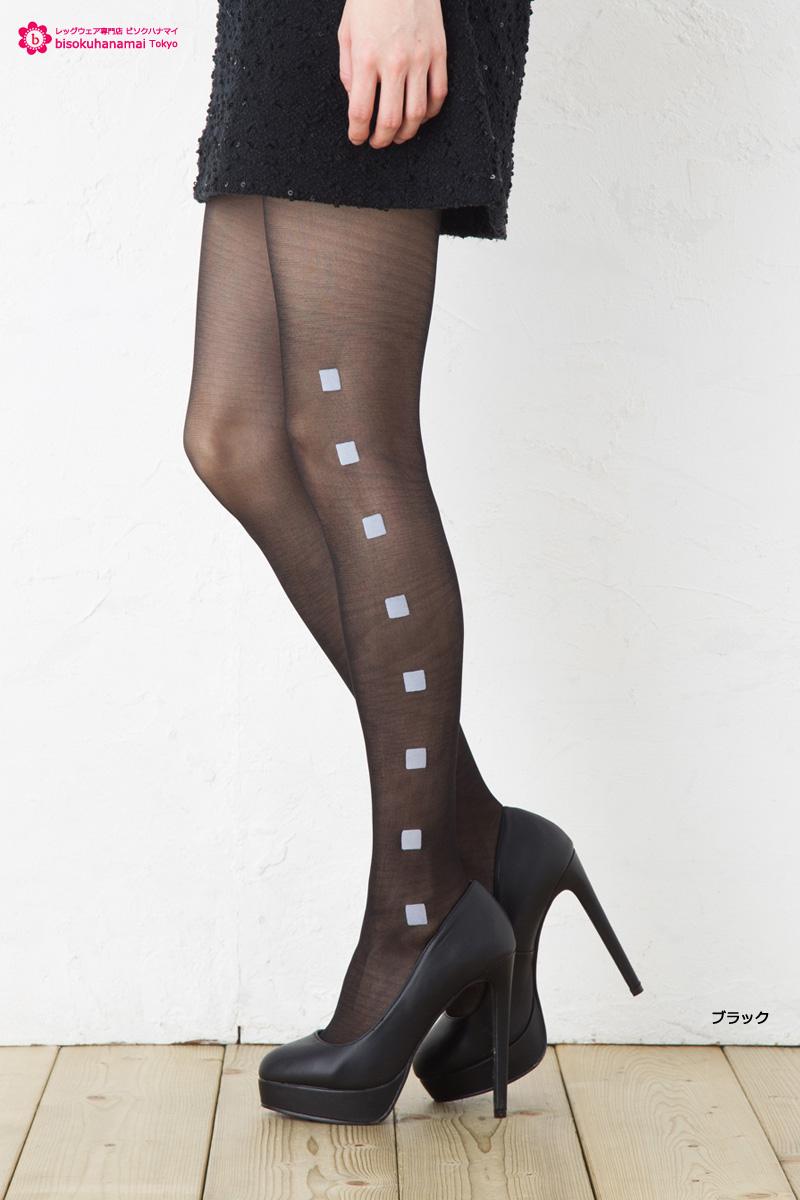 1eee7f979 Side square felt print stocking (black  amp amp  Beige) ♪ sheer tights ...