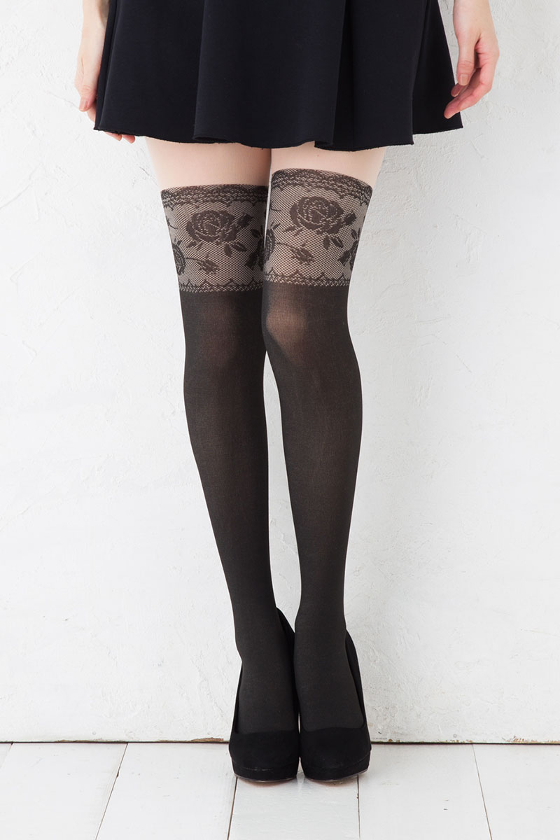 2a12f31ed23732 Rose race fake knee high stockings (M-L black) pattern tights Lady's fake  tights stockings ...