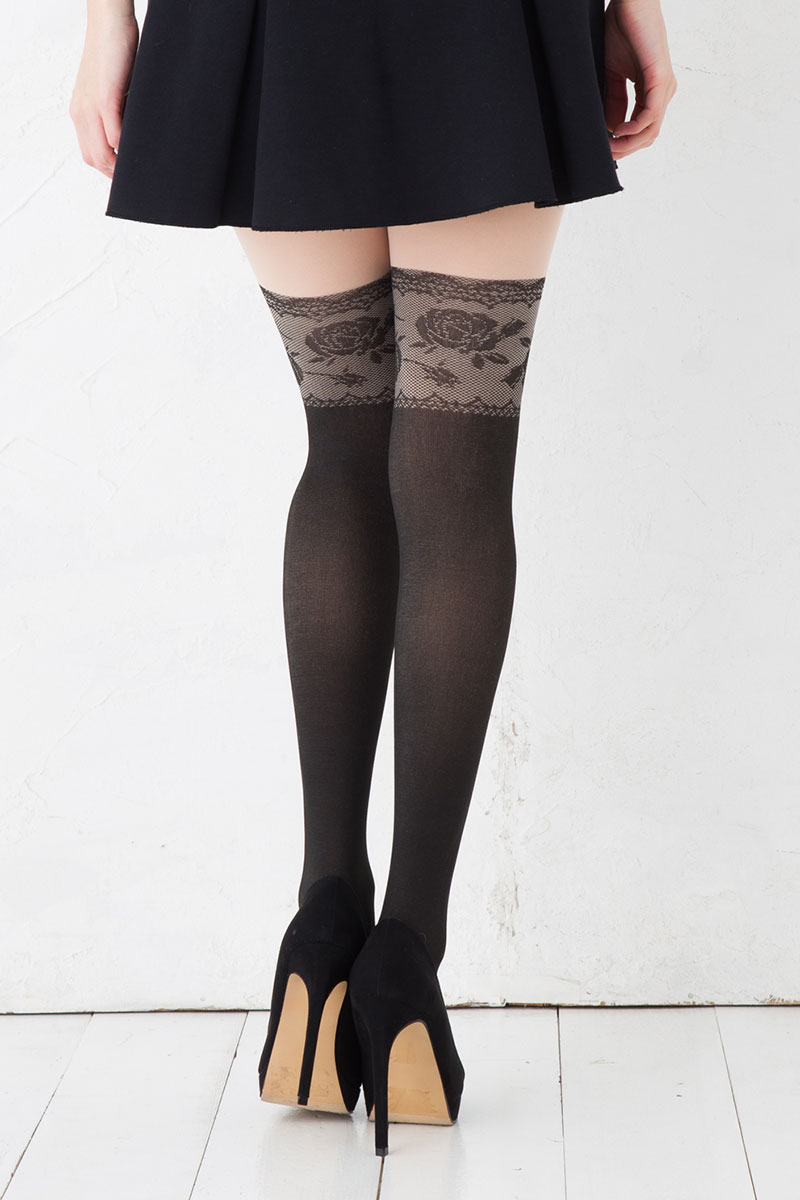 3f59553c2917b2 ... Rose race fake knee high stockings (M-L black) pattern tights Lady's fake  tights stockings ...