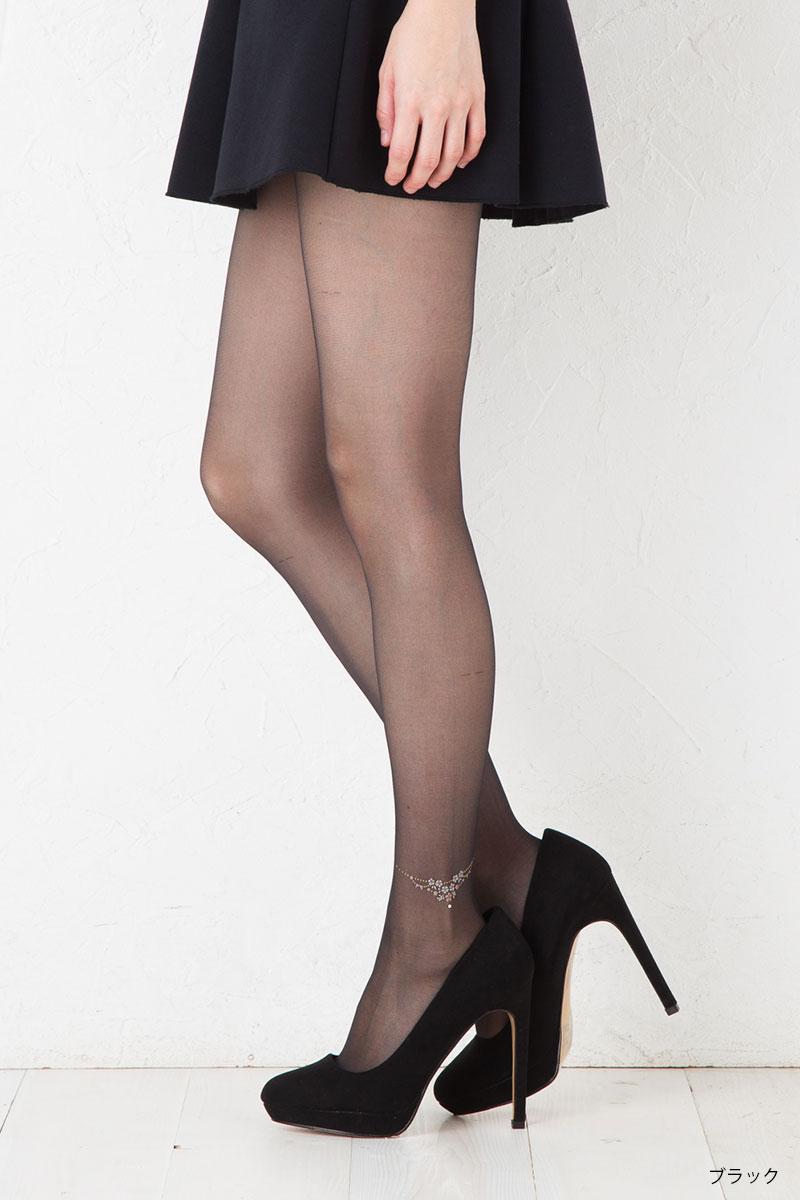 3aed377db bisokuhanamai  トゥシェブライトアンクレット pattern stockings (black ...