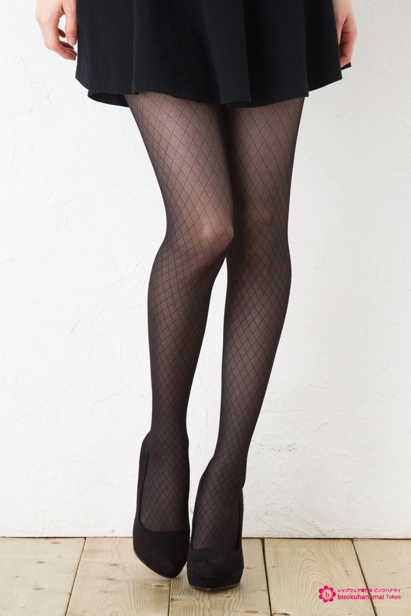 Small diamond patterned tights black ♪ stockings ladies stocking tights ladies!-ZB