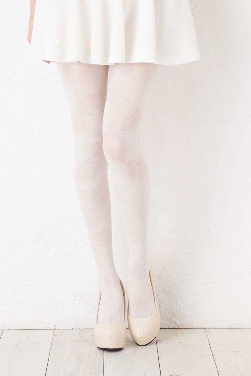 e5c95226d Lady s pattern stockings MORE more made in flower solid pattern tights  floral white M-L size Japan ...