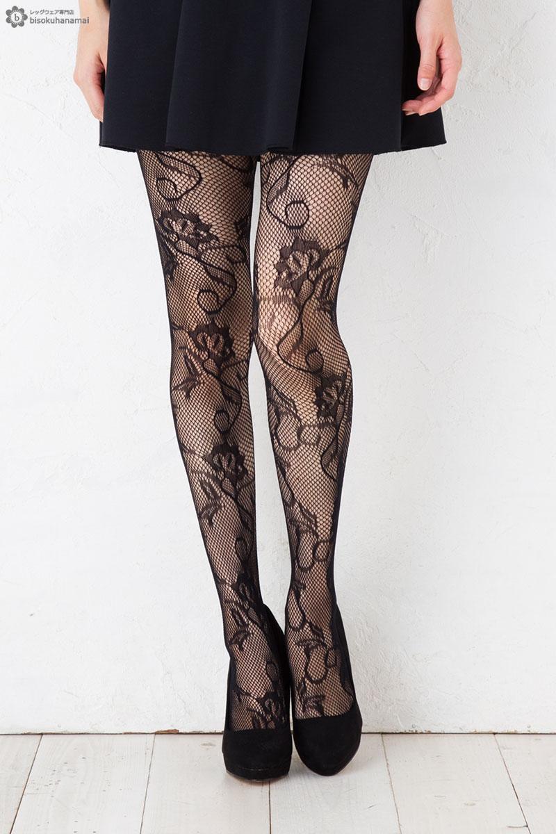 綺麗なつた花柄タイツです 人気です 大決算セール 蔦花柄ラッセルタイツ 特売 ブラック M-L 網タイツ stockings net ladies レディース tights 柄ストッキング