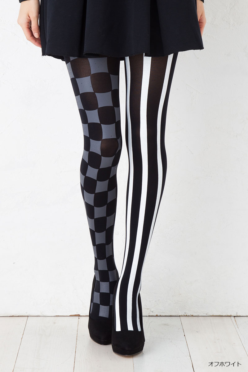 627306eea70 art manuel chiharu kikuchi stripe  amp  checker tights 80 denier M-L size  Lady s pattern stockings ...