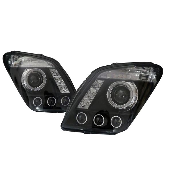 ワゴンR MH23S LS風 プロジェクター ヘッドライト インナーブラック LED SMD イカリング LED ポジション デイライト 付 3連プロジェクター AZワゴン にも カスタム ライト HID 可能 _52112