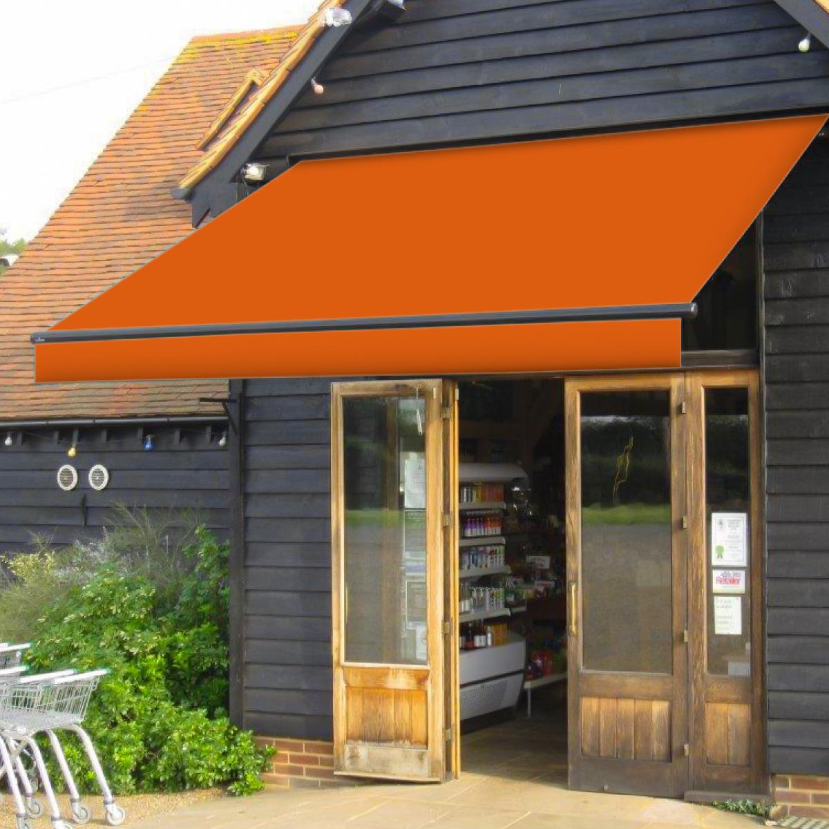 人気のオーニングテント 新色続々入荷中 カフェ ショップ テラス お庭でオープンカフェいかがですか  オーニングテント 幅2m×張出1.5m 橙/オレンジ 黒フレーム 折り畳み 伸縮 巻き上げ式 日除けテント サンシェード ベランダ バルコニー カフェ オープンテラス 紫外線 UVカット 遮熱 断熱 エコ ハンドル式 簡単収納 _71081