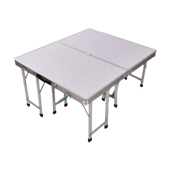 アウトドアテーブル 折り畳み レジャーテーブル 80cm×90cm 4人用 4脚付きBBQ バーベキュー キャンプ テント ピクニック 折りたたみパラソル対応 持ち運び あす楽対応 _86289