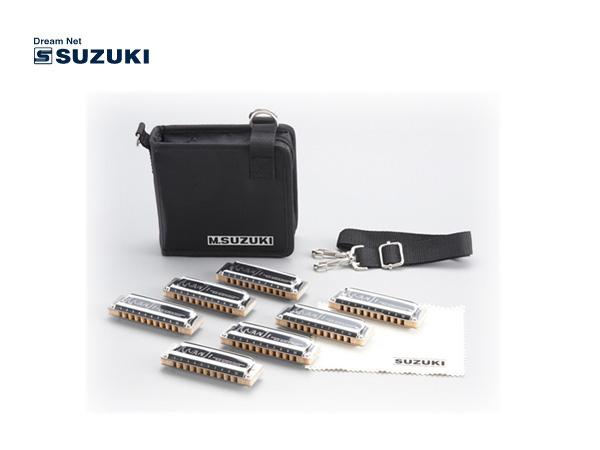 【as】SUZUKI/スズキ M-20-7SET クロス・ケース付 MANJI 7本セッ 10穴ハーモニカ【楽ギフ_包装選択】【P2】