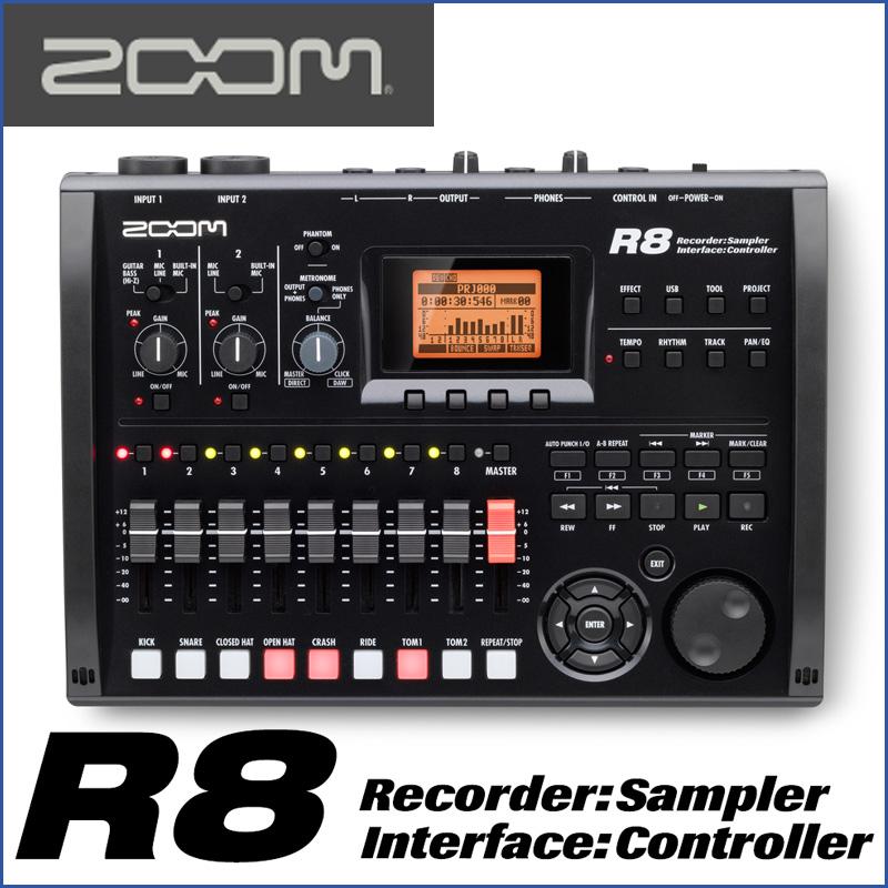 ZOOM/ズーム R8 Recorder:Interface:Controller: Sampler 8トラックMTRとして、オーディオI/Fとして、DAWコントローラーとして モチーフのスケッチから作曲まで幅広くサポート。【P10】
