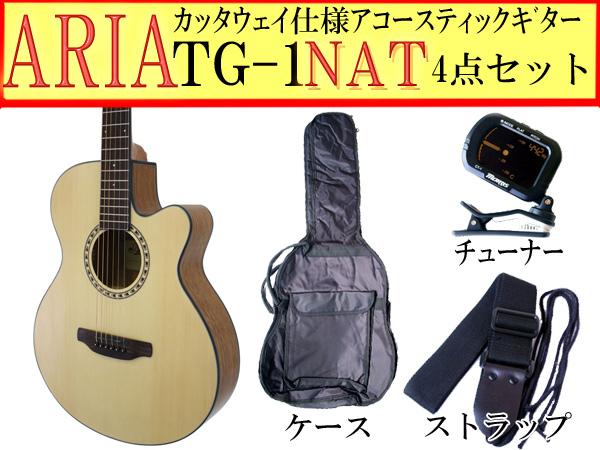【定番4点セット】ARIA/アリア TG-1/TG1 NA/ナチュラル 小ぶりなアコースティックギター【P2】