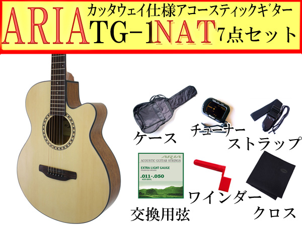 【嬉しい7点セット】ARIA/アリア TG-1/TG1 N/ナチュラル 小ぶりなアコースティックギター【P2】