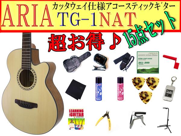 【完璧15点セット】ARIA/アリア TG-1/TG1 N/ナチュラル 小ぶりなアコースティックギター【P2】