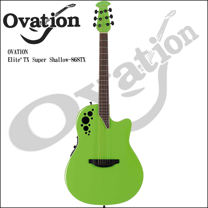 Ovation Elite 1868TX Slime Green TX Series Super Shallow Body【P5】