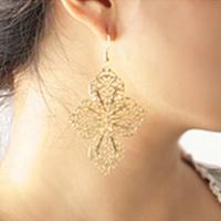 DCMR 激安超特価 Jewelry ジュエリー ゴールド 無料サンプルOK ゴージャス キラキラ 木の葉 イヤー イヤリング アクセサリ