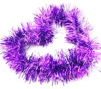 DCMR クリスマス パープル 業界No.1 リース キラキラ パーティー 特価 モール ボリューム感 長2M 幅8CM 飾り Lサイズ フリフリ 1点