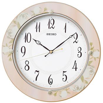 15:00迄の在庫商品のご注文分は最短で当日出荷 セイコー SEIKO 電波クロック おやすみ秒針 KX220P 贈与 掛け時計 花柄模様枠 新着セール