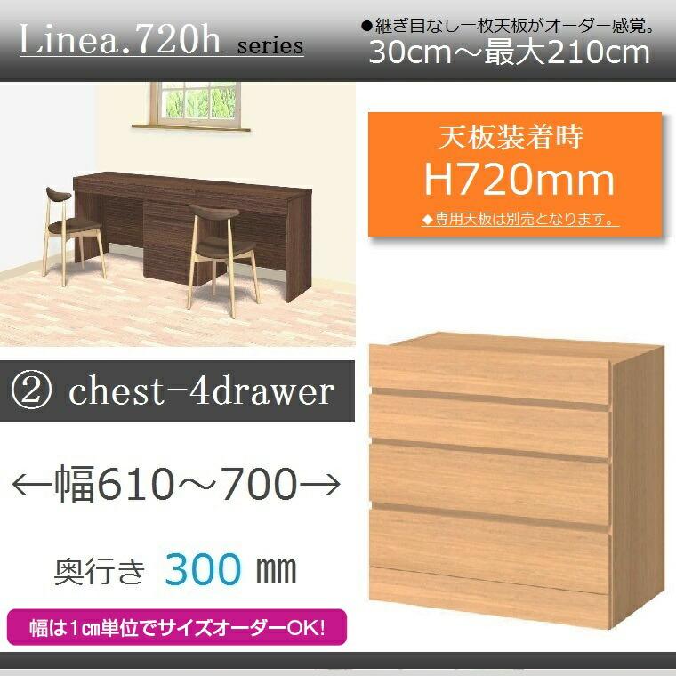 ユニットカウンターLinea.720h・2.chest-4drawer・奥行き30cm幅61~70cm高さ72cm・イージーオーダー・【送料無料】
