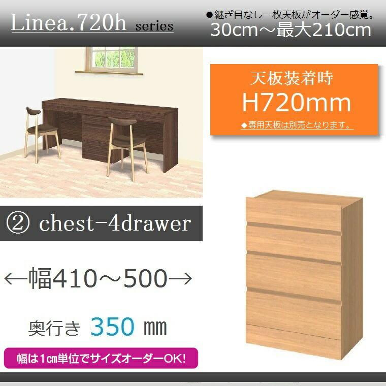 ユニットカウンターLinea.720h・2.chest-4drawer・奥行き35cm幅41~50cm高さ72cm・イージーオーダー・【送料無料】