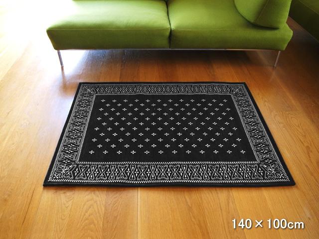 クロス バンダナ ラグ Black 140×100cm Cross Bandanna Rug ブラック バンダナ柄 ラグマット 洗える