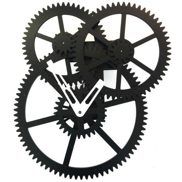 歯車 壁掛け時計 トリプルギア ウォールクロック Triple Gear Wall Clock キッカーランド KIKKERLAND スイープムーブメント 掛け時計 連続秒針