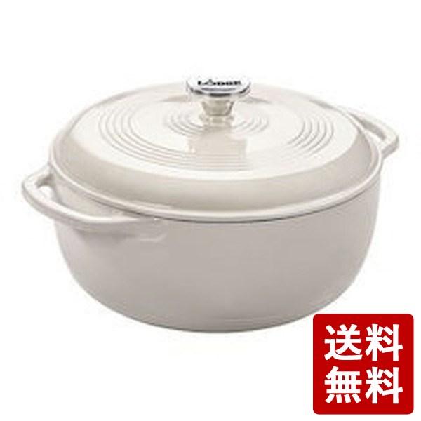 【送料無料】ロッジ エナメルダッチオーブン 6クォートオイスターホワイト