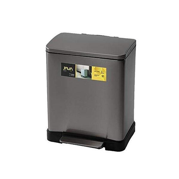 【P10倍】JAVA Lase ペダルビン ステンレス ゴミ箱 消臭剤ポケット付 20L チタニウムグレー OPUS