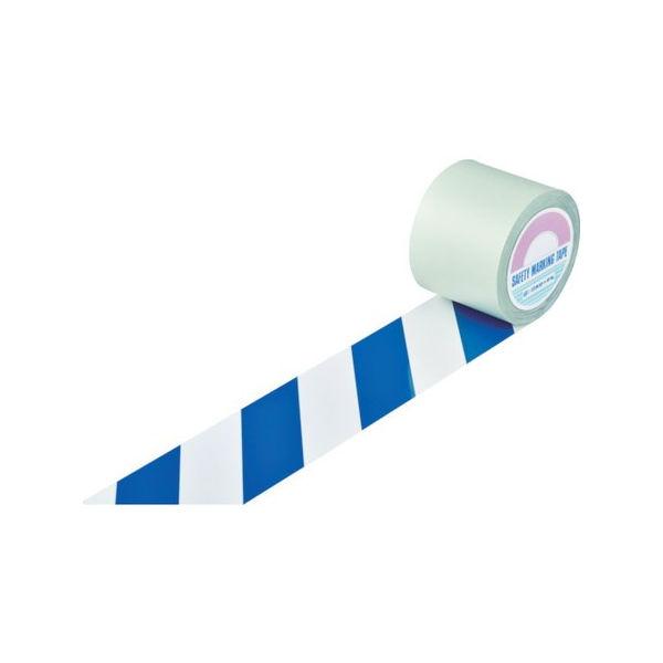 【2019春夏新作】 PLOTS 148145:neut 100mm幅×100m 白/青(トラ柄) 緑十字 ガードテープ(ラインテープ)-DIY・工具
