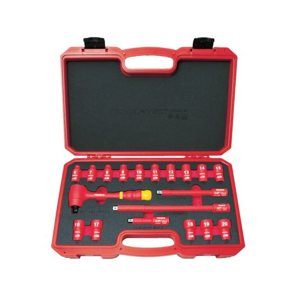 絶縁ソケットレンチセット(6角タイプ)差込角9.5mm TRUSCO TZSW319S-3100