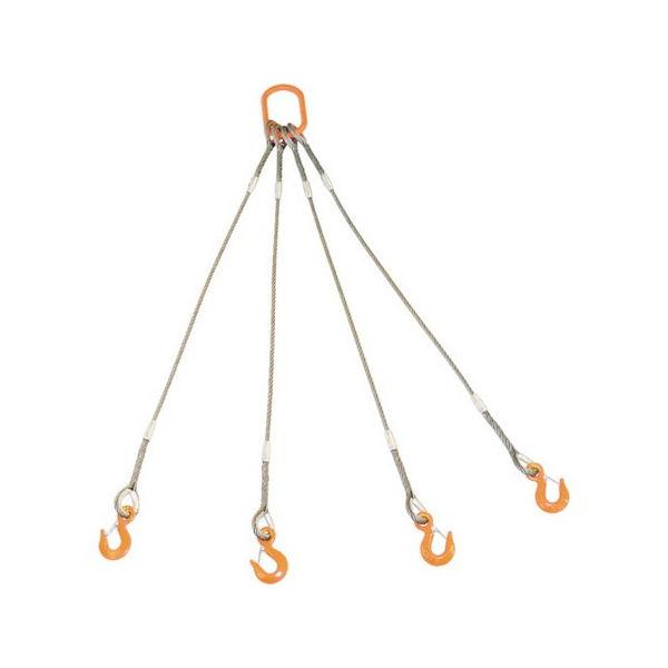 TRUSCO 4本吊りWスリング フック付き 6mmX3m GRE-4P-6S3