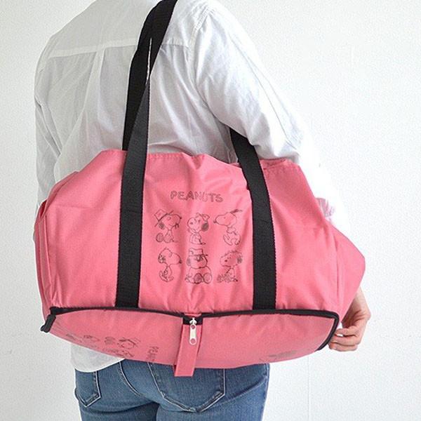 店内最大ポイント10倍 全品P5~10倍 レジカゴバッグ 在庫一掃 スヌーピー ピンク フレンズ 23L 621SQPK 折り畳み 卸売り クツワ 大容量 買い物袋 エコバッグ