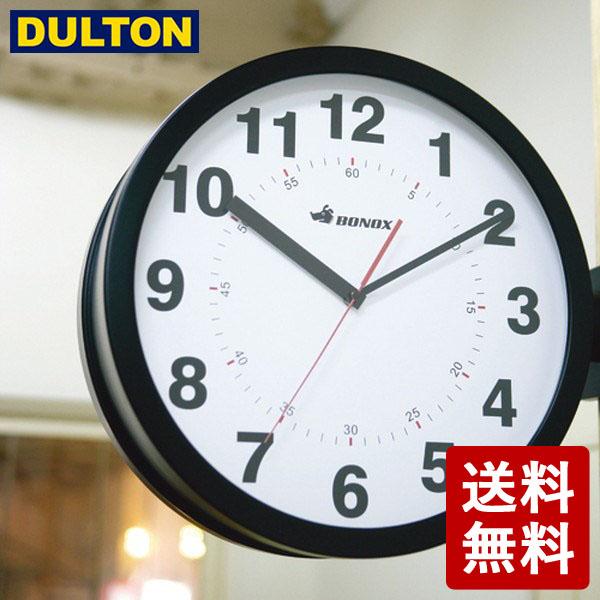 【全品P5倍~10倍】DULTON ダブルフェイス ウォールクロック ブラック S82429BK 両面時計 インダストリアル 男前 シンプル ダルトン DIY