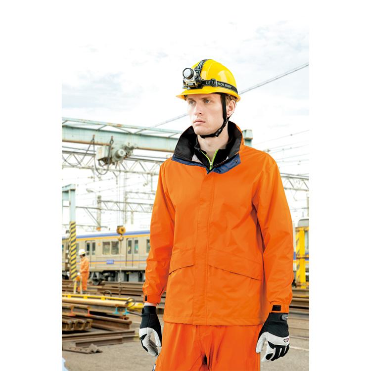 作業服 作業着 レインウェア 全天候型ベーシックジャケット 防水 透湿 カッパ メンズ 男性 アイトス AITOZ IIS-56314 オレンジ スチールブルー ネイビー Sサイズ Mサイズ Lサイズ LLサイズ 3Lサイズ 4Lサイズ 5Lサイズ