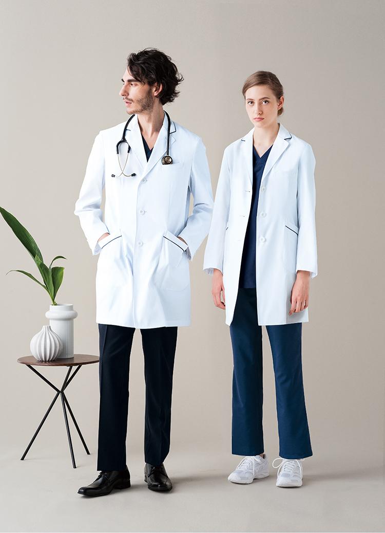 美津濃白色 / 美津濃男裝醫生外套 (為人) 花雙口袋滲透預防系統電源志 MZ0108 大廳 (裝飾刺繡) 口袋