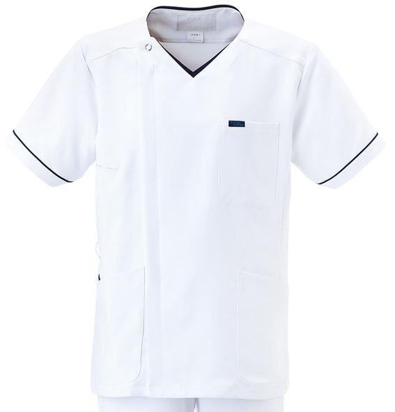 白衣 スクラブ 男性 医師用白衣 おしゃれ 定番 人気 ドクター 医者 病院 制服 手術着 医務衣 FOLK 医療用白衣 フォーク メンズジップスクラブ 1016EW3jL4RqA5