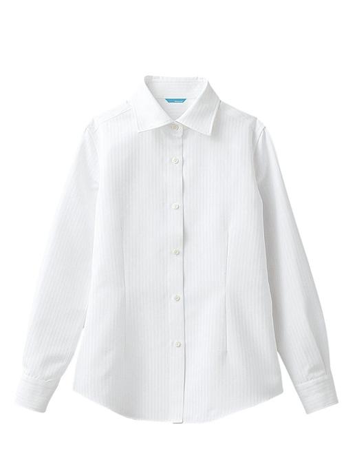 レディスシャツ 女性用 (長袖) 白 《アルベ blanchi》【スプリンジーストライプ】 chi-bc-6912-01