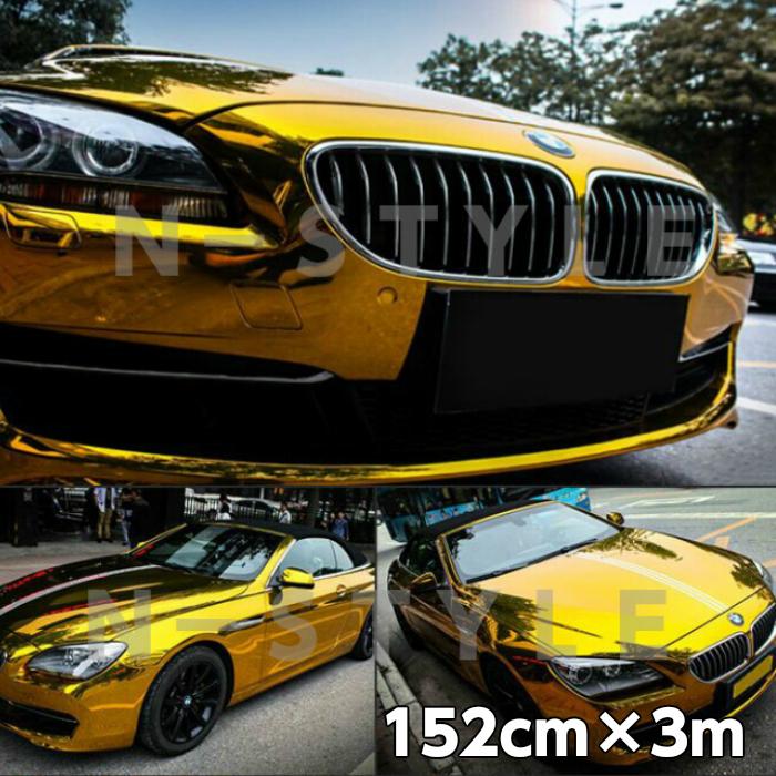 カーラッピングシート152cm×3m 高品質鏡面メッキゴールド ラッピングフィルム 耐熱耐水曲面対応裏溝付 カッティングシート カーラッピングフィルムシート