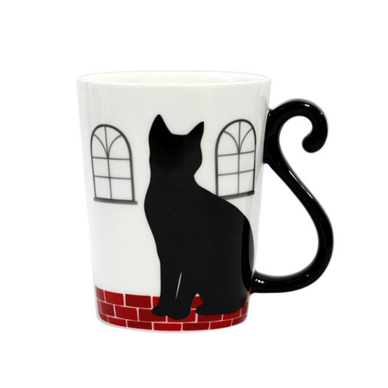 しっぽが取っ手になっててキュート アルタ マグカップ ホワイト #701 マグカップル 単品 黒猫 豊富な品 猫雑貨 ファッション グッズ コップ 人気の製品 小物 磁器 300ml