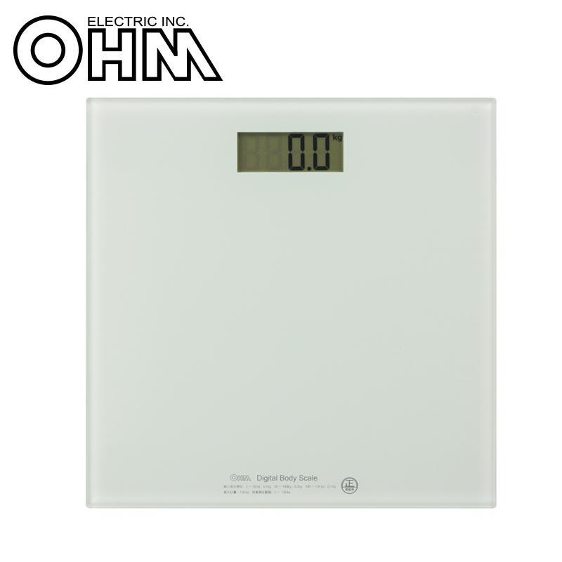 乗ると自動で電源が入る 直営限定アウトレット ステップオン式 日本メーカー新品 OHM デジタル体重計 HBK-T100-W