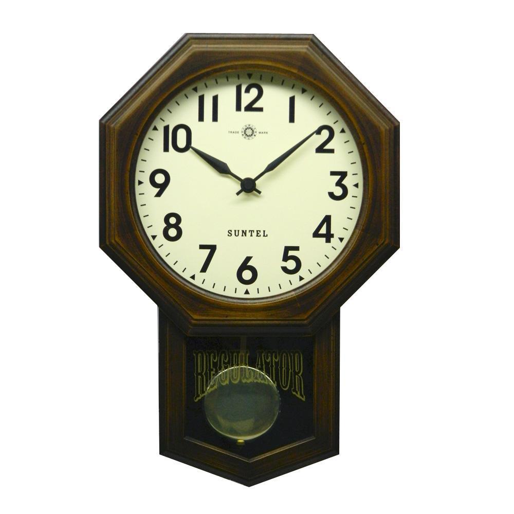 昔ながらのなつかしい振り子時計。 さんてる 日本製 スタンダード 電波振り子時計 (8角) アンティークブラウン SR07-A (アラビア文字)