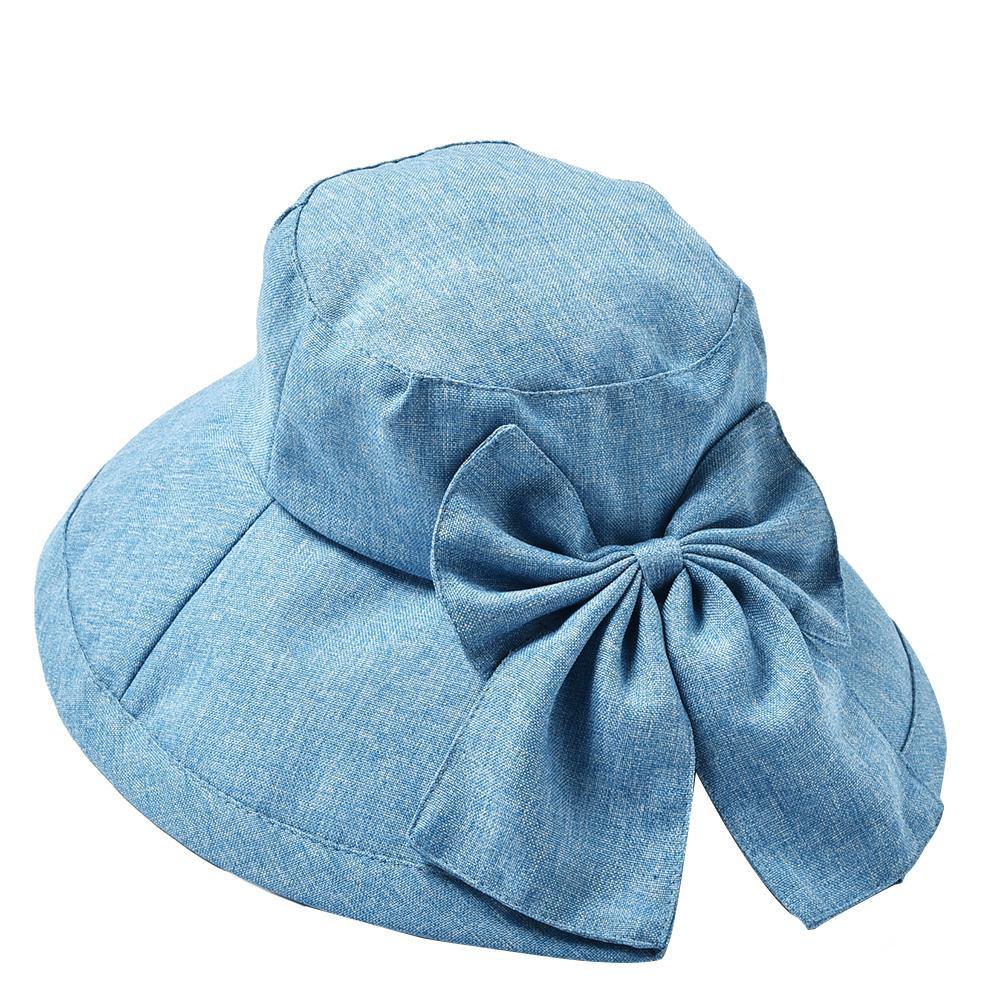 チープ 広めのツバ 大きいリボンが特徴の女優帽です 送料無料 DUV-02-1 激安 ライトブルー デニム調女優帽