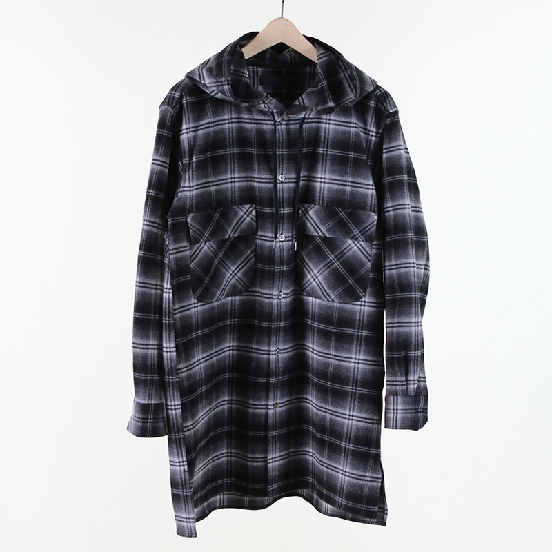 【FINAL PRICE】【SALE 50%OFF】【BLACK & BLUE ブラックアンドブルー】HOODED LONG SHIRTフーデッドロングシャツメーカー希望小売価格33,000円