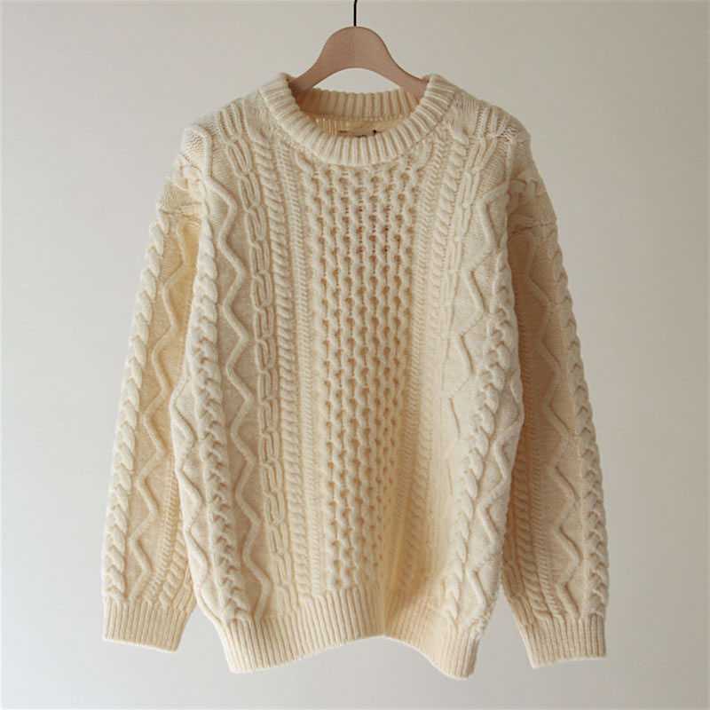unfilアンフィルfrench merino cable-knit sweater NATURALメンズ 男性
