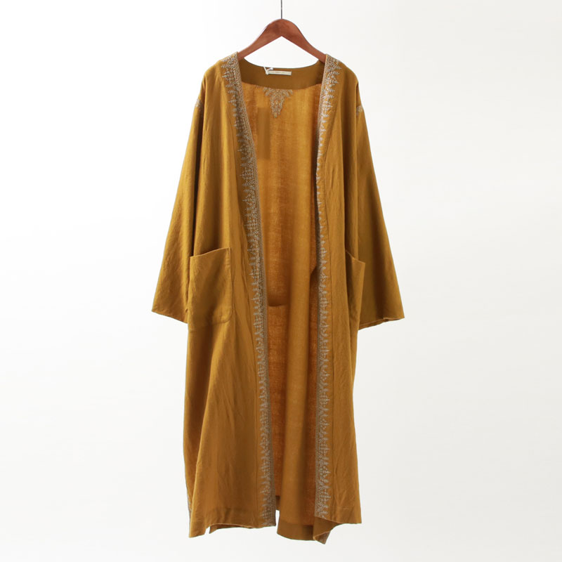 【FINAL PRICE】【55%OFF】【ne Quittez pas ヌキテパ】WOOL EMB GOWN COAT MUSTARDレディース 女性 アウター