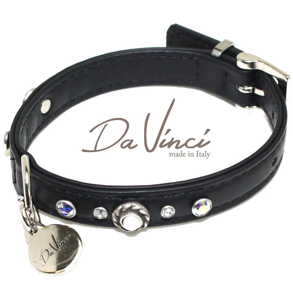 Da Vinci カラー Vittoria:黒 DV1.1.30B 小型犬用首輪・首周り実寸:約20~25cm お洒落な イタリア製 かわいい ダ・ヴィンチ dv90051