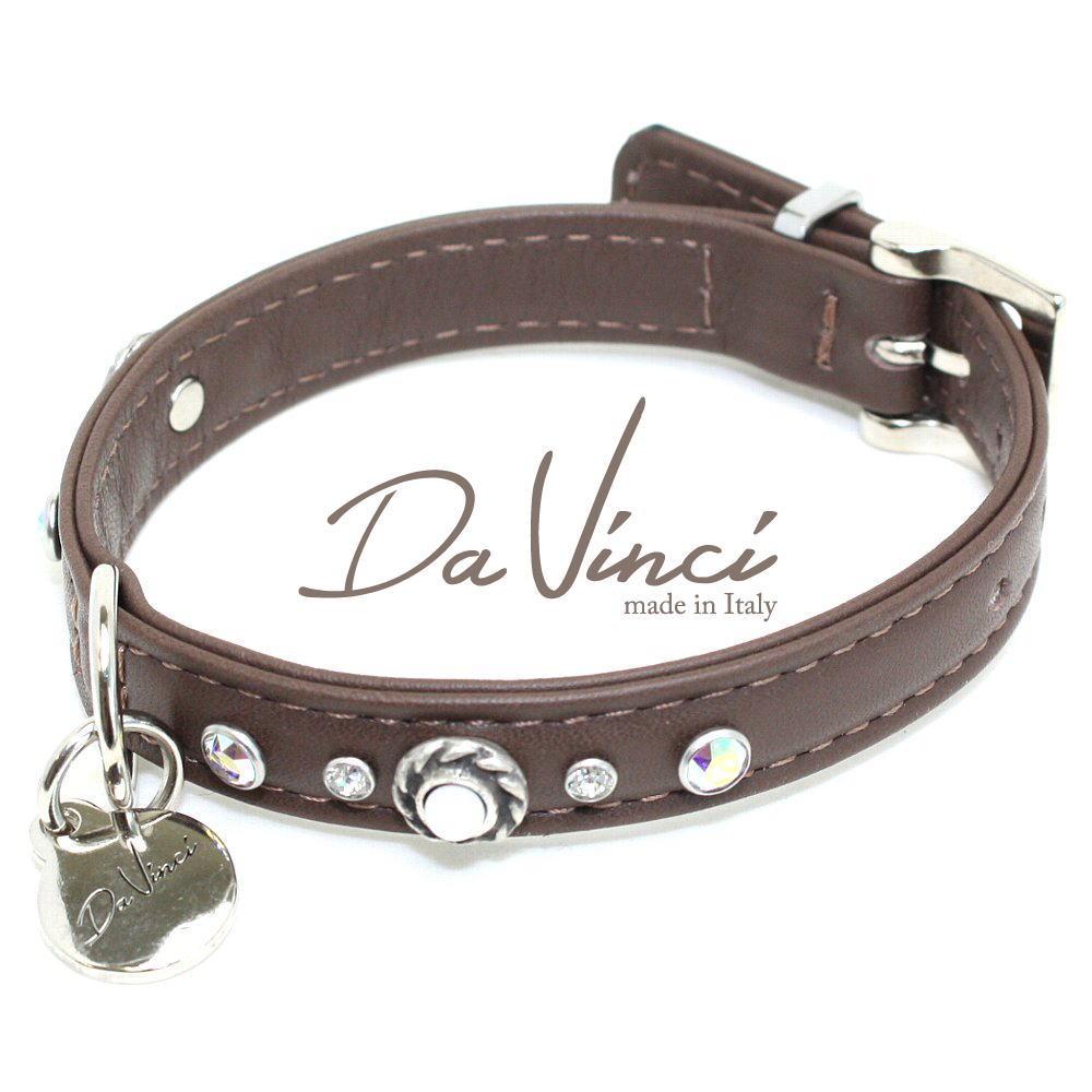 Da Vinci カラー Vittoria:茶 DV1.1.30BR 小型犬用首輪・首周り実寸:約20~25cm お洒落な イタリア製 かわいい ダ・ヴィンチ dv90099