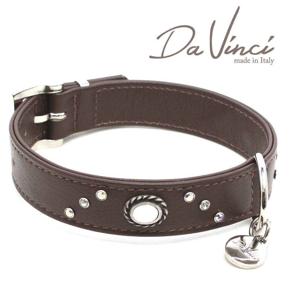 Da Vinci カラー Vittoria:茶 DV1.3.40BR 中型犬用首輪・首周り実寸:約29~35cm お洒落な イタリア製 かわいい ダ・ヴィンチ dv90327