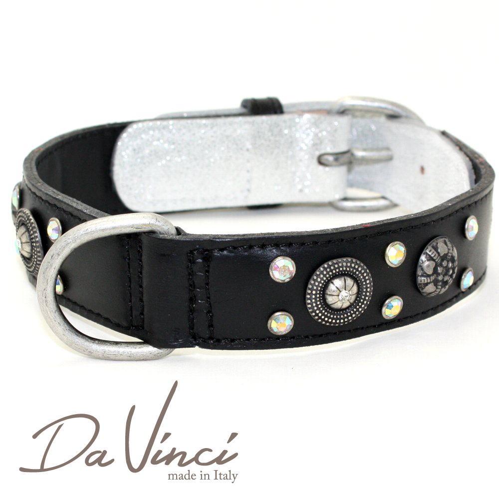 Da Vinci カラー Ginevra:黒 DV3.2.50B 【中型犬用首輪・首周り実寸:約36~42cm お洒落な イタリア製 かわいい ダ・ヴィンチ】 dv90846