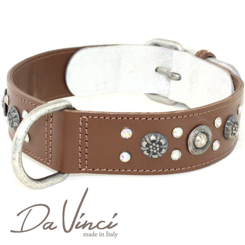 Da Vinci カラー Ginevra:茶 DV3.3.60BR 【大型犬用首輪・首周り実寸:約45~51cm お洒落な イタリア製 かわいい ダ・ヴィンチ】 dv90938